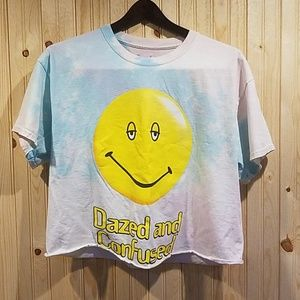 DAZED & CONFUSED cropped tie dye movie graphic tee